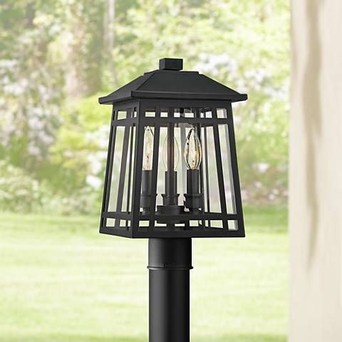 East Ridge 15 High Black Caged 3 Light Outdoor Post Light 42r55 Lamps Plus Lamp Post Lights Post Lights Outdoor Post Lights