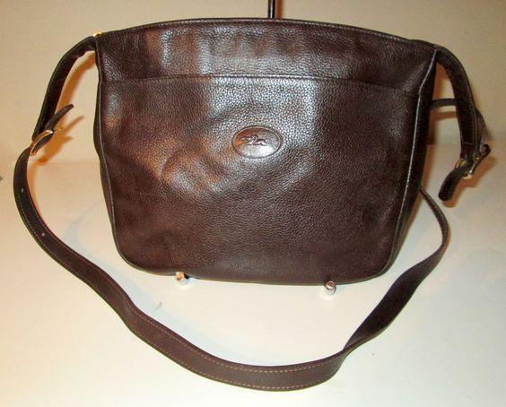 Vintage LONGCHAMP DARK BROWN Pebbled Leather Derbi Verni Crossbody Shoulder Bag Handbag & Dust Bag by bygoneandback on Etsy