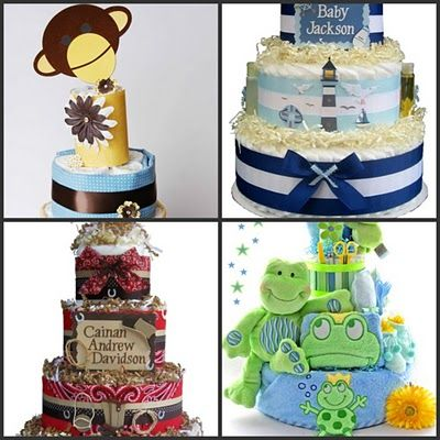 1.  Mod Monkey Diaper Cake: Hostess with the Mostess  2.  Nautical Lighthouse Diaper Cake: Baby Diaper Cakes and Baskets  3.  Wild West Diaper Cake: Baby Diaper Cakes and Baskets  4.  Friendly Frogs Diaper Cake: Stork Baby Gift Baskets