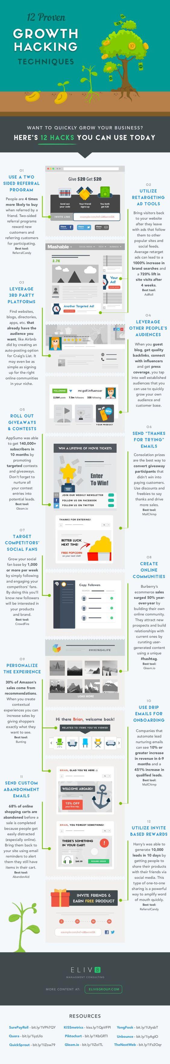 12 técnicas de Growth Hacking probadas #infografia #infographic #marketing