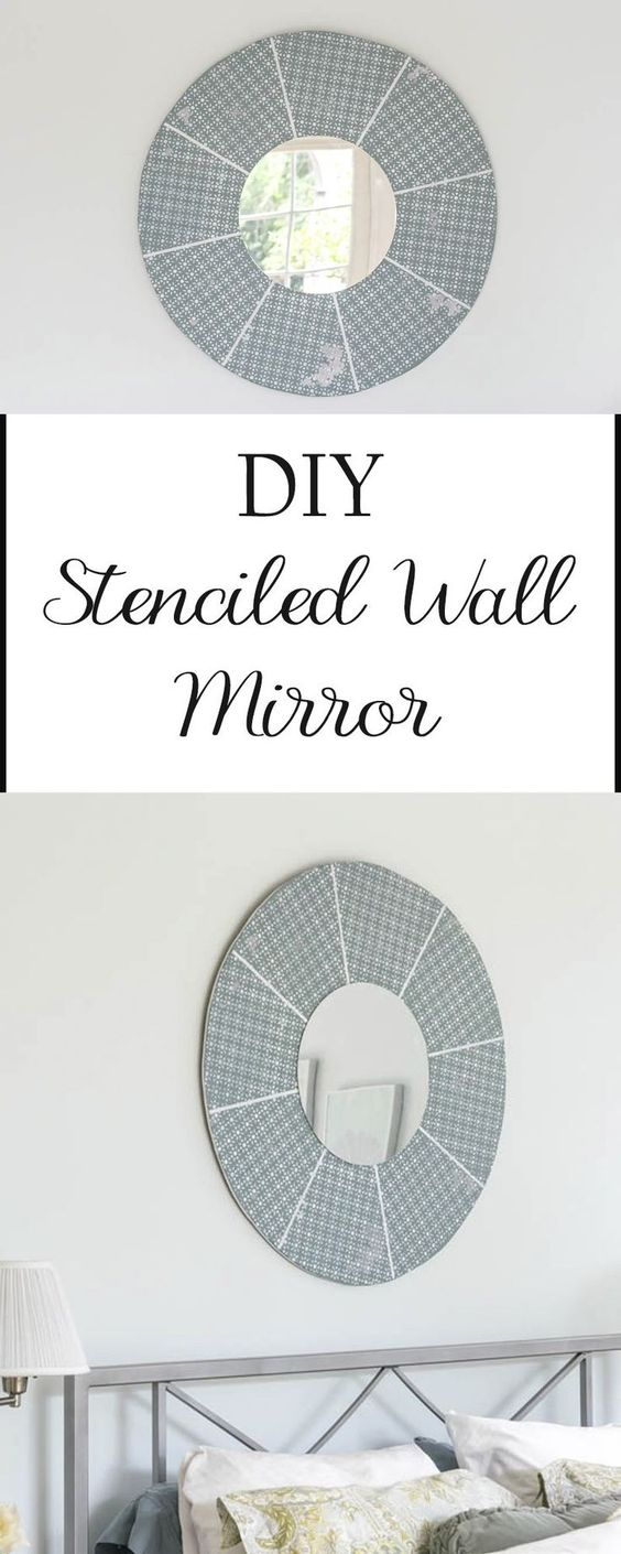 Small round mirrors for crafts - Stencil A Diy Wall Mirror Easily With A Piece Of Wood Some Paint A Small Round Mirror And An Easy Stencil Perfect Addition To Your Home Decor Wall Art