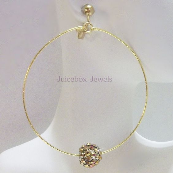 Clip on 2.75 inch BROWN AB Rhinestone Ball Handmade Hoop Gold Tone Earrings V480 #Handmade #Hoop