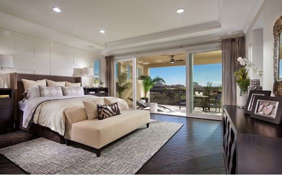 The spacious master suite is located upstairs and includes a spa-like bath with soaking tub, expansive walk-in closets and an oversized shower featuring two doors. - Residence Three at Cabrillo at Verdera in Lincoln, CA