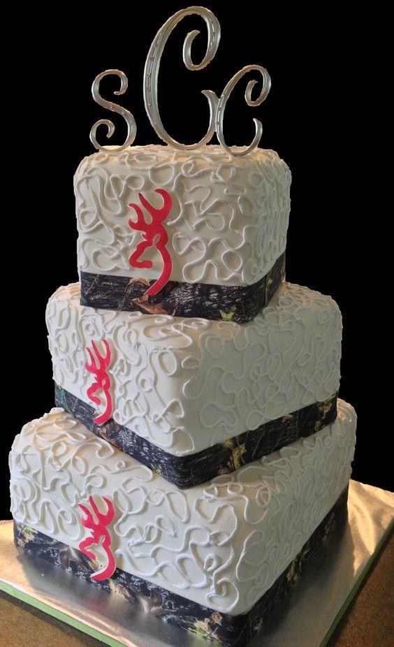 Pink Camo Wedding Cakes | Camo and pink Browning logo wedding cake! www.LolosCakesAndSweets.com ...