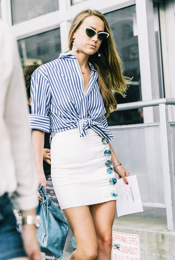 Knotted striped blouse + buttoned miniskirt
