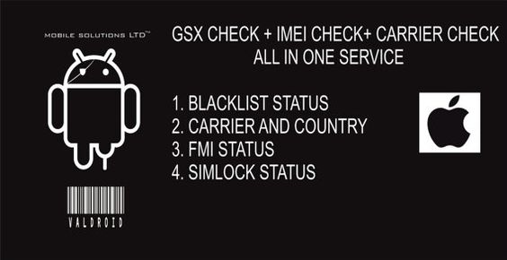 GSX FULL CHECK. BLACKLIST CHECK, CARRIER CHECK, SIMLOCK CHECK, ALL IN ONE REPORT. VISIT US FOR MORE