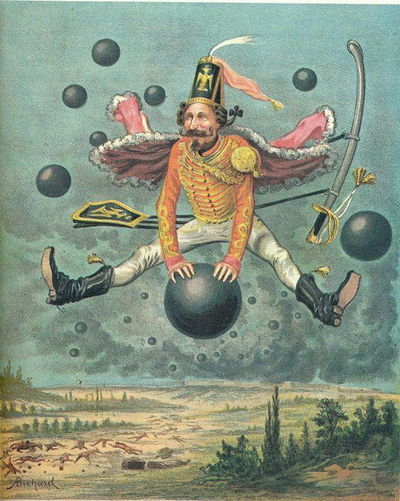 A Bichard lithographs Baron van Munchhausen 1879 -1967- ill O