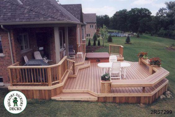 Decks deck plans and deck design on pinterest for 2 level deck designs