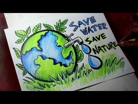 How To Draw Save Trees Save Water Save Nature Poster Drawing For Kids Youtube Save Water Poster Drawing Poster Drawing Water Conservation Poster