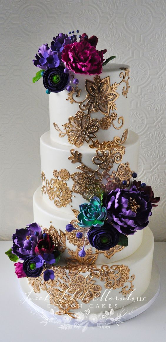 Morracan Theme Wedding Cake Gold Baby Blue Purple Lace Wedding