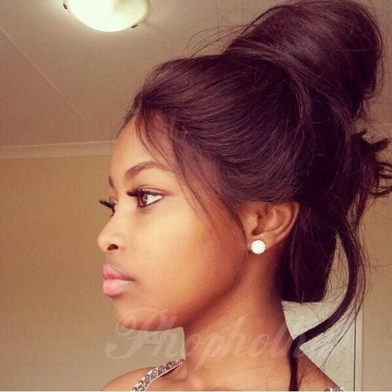 Brilliant High Messy Buns Weave Hairstyles And Baby Hairs On Pinterest Hairstyles For Women Draintrainus