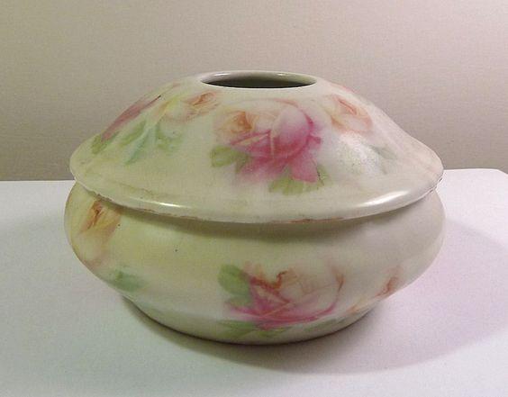 Ceramic HAIR RECEIVER Vintage 1920s Germany Pink ROSES