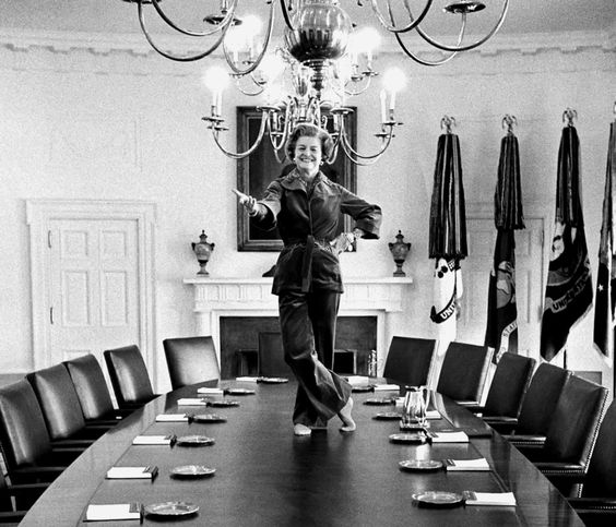 On her last day as First Lady, Betty Ford jumped on the Cabinet Room table in the White House and started dancing, 1977 via reddit