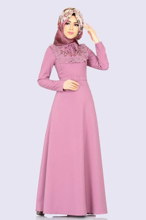 Modaselvim Elbise Cicek Nakisli Tesettur Elbise 2127ms212 Pudra Dresses Beauty Aurora Sleeping Beauty
