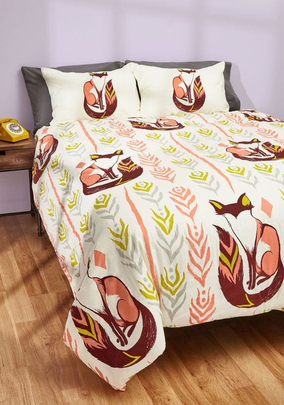 cute fox print duvet cover