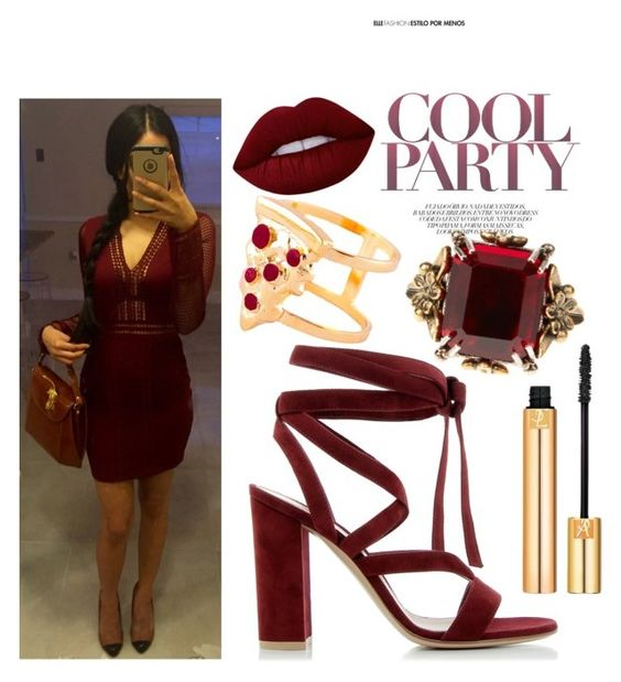 """""""Burgundy Babe"""" by avni7 on Polyvore featuring Gianvito Rossi, Alexander McQueen, Glenda López, Lime Crime and Yves Saint Laurent"""