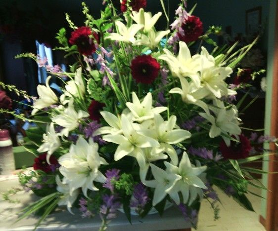 White home grown Lily's, dahlias and purple bell flowers