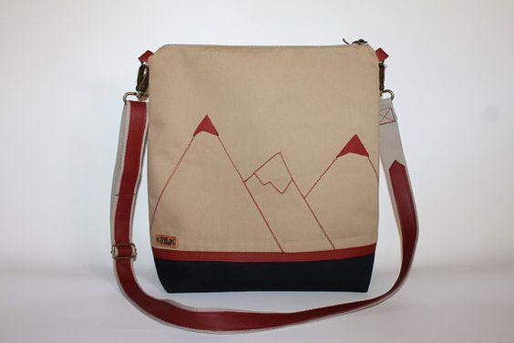 Tote bag Canvas messenger bag  cross body bag lady bag mountain bag gift for her