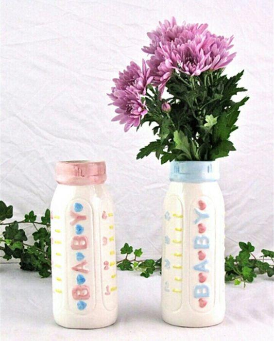 Baby bottle flower vase centerpiece for shower i m