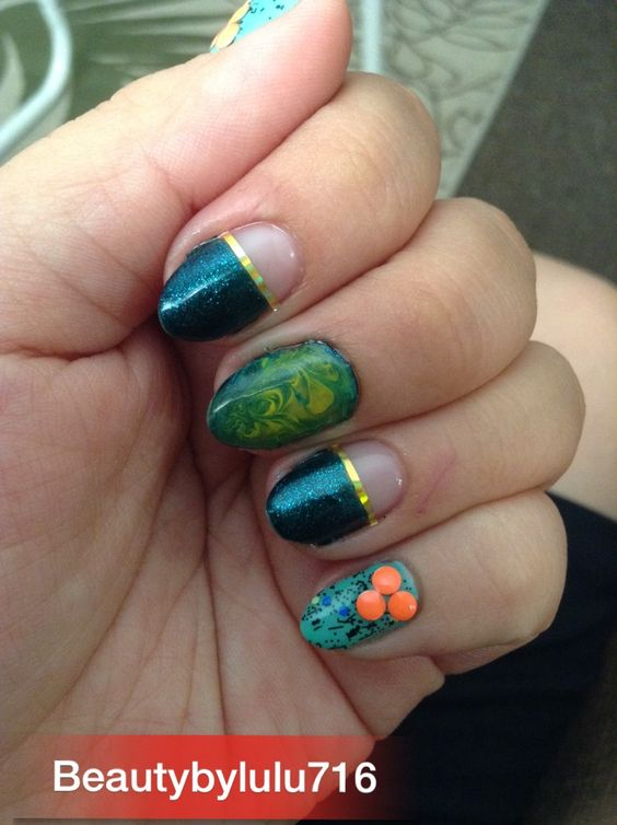 Gel nails with green yellow nd aqua