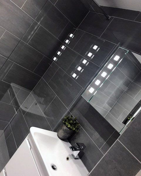 Top 60 Best Grey Bathroom Tile Ideas Neutral Interior Designs Grey Bathroom Tiles Dark Grey Tile Bathroom Dark Gray Bathroom