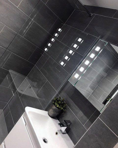 Top 60 Best Grey Bathroom Tile Ideas Neutral Interior Designs Grey Bathroom Tiles Dark Grey Tile Bathroom Dark Tile Bathroom