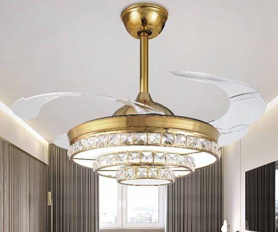 36 W Round Crystal Pendant Lamp Modern Led Living Room Ceiling Fan Light In Gold Google Shopping In 2020 Living Room Ceiling Fan Ceiling Fan With Light Fan Light
