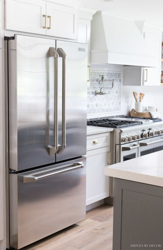 My New Counter Depth Refrigerator That Has A Crazy Amount Of Storage Space Details In Post White Kitchen Remodeling Gray And White Kitchen Kitchen Design