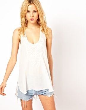 Mango Embroidered Top With Split Side, asos.com