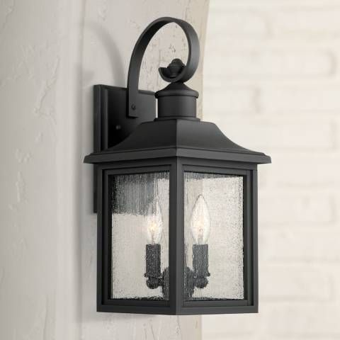 This Lovely Traditional Style Wall Light Comes In A Classic Black Finish And Seeded Glass 17 3 4 High X 8 Wide Extends 9 From The Wall Exterior Light Fixtures Wall Lights Black