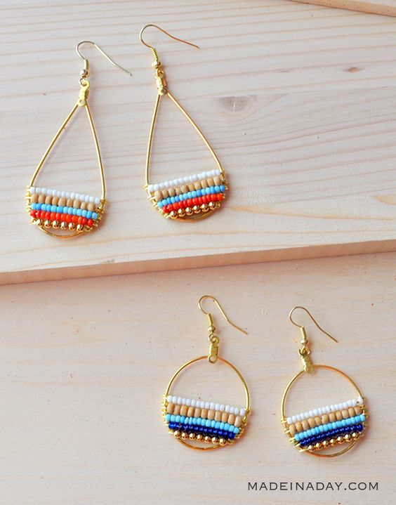 Super fun layered beaded earrings, so cute & boho. Tutorial on madeinaday.com #anthrohack