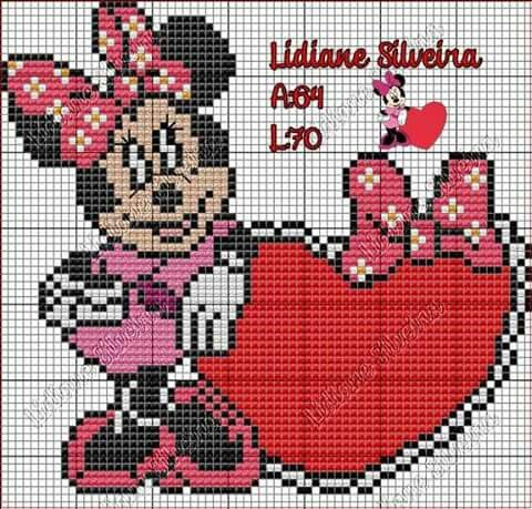 Minnie Mouse x-stitch Heart