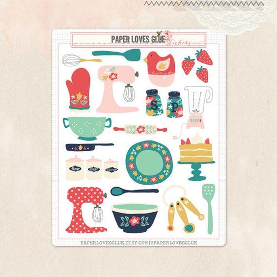 24 cottage keuken Planner Stickers, kalender Sticker, Planner accessoires, Erin Condren, Filofax, Project Life