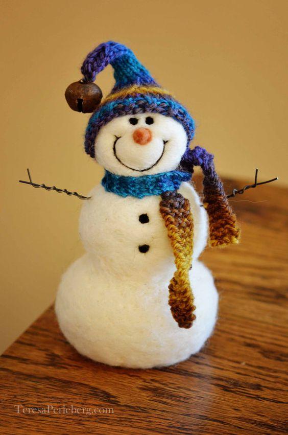 Snowmen Solid wool needle felted Snowman 593 by BearCreekDesign