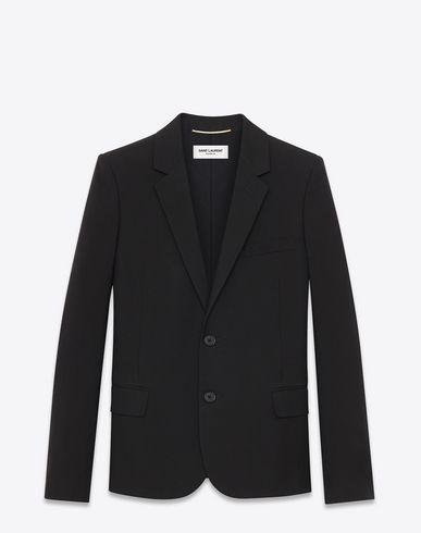 SAINT LAURENT Classic Single-Breasted Jacket In Black Wool Gabardine. #saintlaurent #cloth #