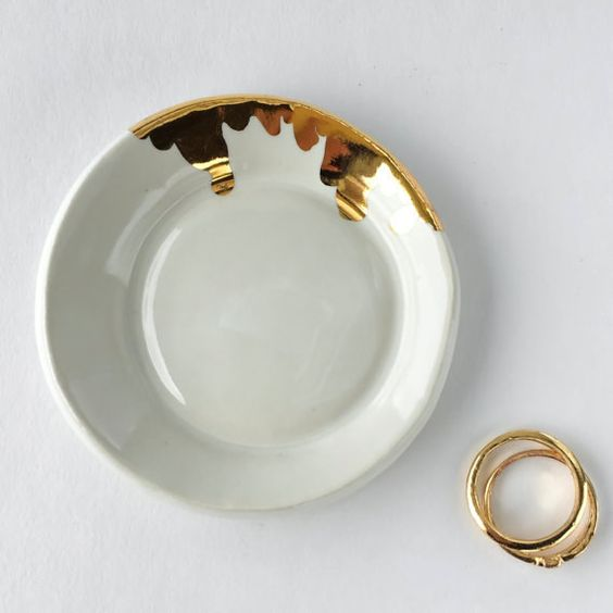 White and gold ring dish, $44 | 18 Amazingly Cute Ways To Store Your Rings N' Things