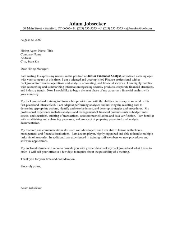 analyst cover letter example financial analyst cover letter