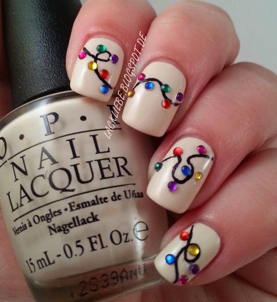 Beautiful OPI My Vampire is Buff nail polish with fun Christmas lights nail art.