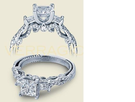 So I have expensive tastes....This is my dream engagement ring style (Verragio Insignia 7074P) with a slight change -- the 3 middle diamonds would be aquamarine in colour (see other ring photo) to coincide with my birth month.