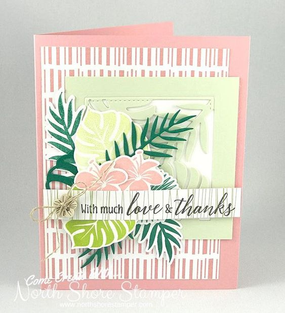 No time to create tonight but snuck in time to CASE at 5am:). This is the gorgeous new Tropical Chic bundle card I copied right out of the catty!!!! Love love love these colours, dies and stamps!!