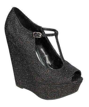 Another great find on #zulily! Black Glitter Cece Wedge by Breckelle's #zulilyfinds
