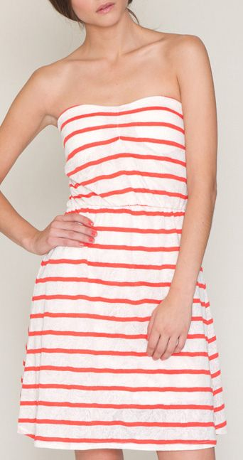 Red & White Stripe Carola Strapless Dress