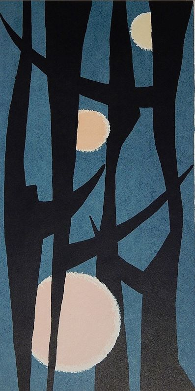 "By Edward August Landon (1911-1984), 1980, ""Trapped Moon II"", woodcut in colors."