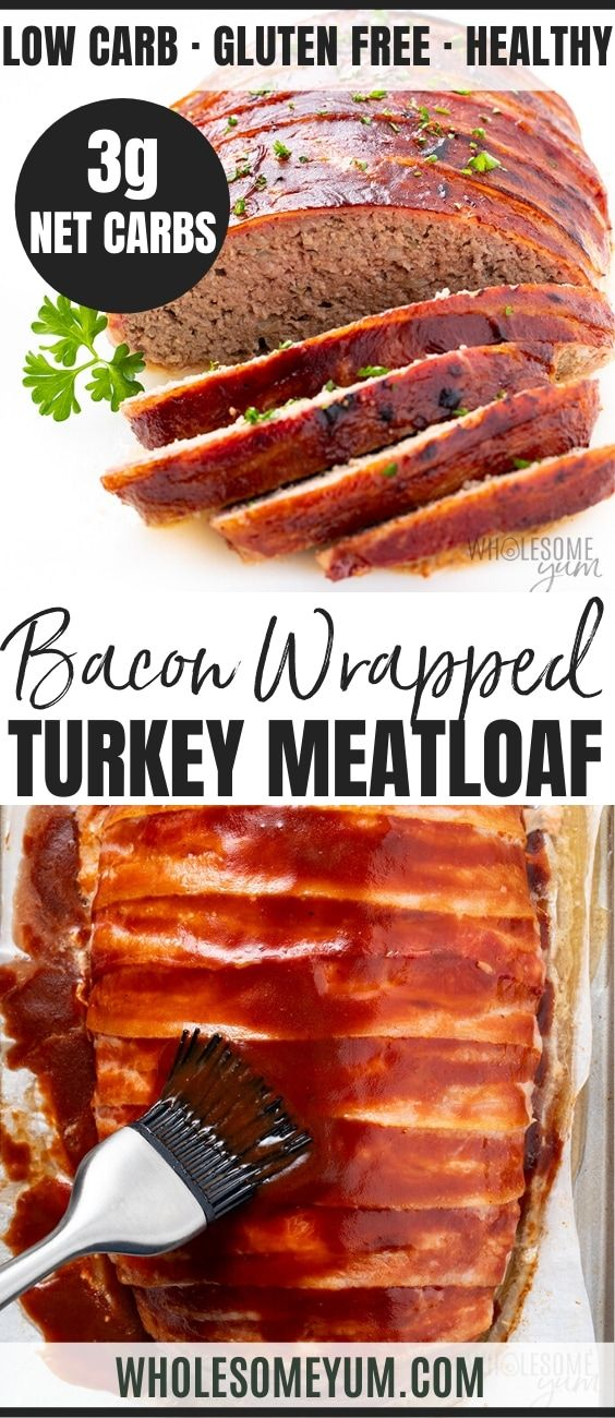 Bacon Wrapped Low Carb Keto Turkey Meatloaf Recipe In 2020 Turkey Meatloaf Recipes Turkey Meatloaf Low Carb Breakfast Recipes