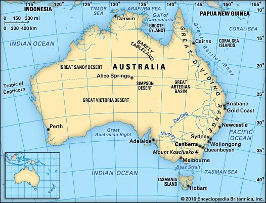 Australias Neighbours Map showing the location of Indonesia and – Map of Major Cities in Australia