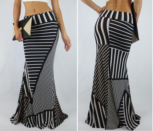 avant gard maxi skirt mermaid flare stripe