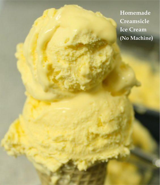 Homemade Creamsicle Ice Cream (No Machine)