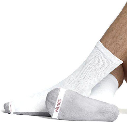 Hanes Mens Cushion Crew Socks FreshIQ 6 Pack Athletic size 6-12 Black Grey White