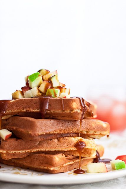 Classic Waffles With Salted Caramel Sauce Recipe — Dishmaps