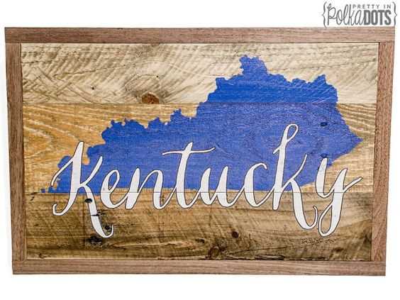 Reclaimed Pallet Wood Sign - Kentucky State Sign - Walnut Frame